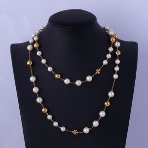 Tory Burch Pearl Metal Ball Gold-Plated Necklace